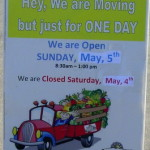 Market is closed Saturday May 4th Open Sunday May 5th