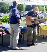 Carson and friend playing at the Wonderful Wednesday market